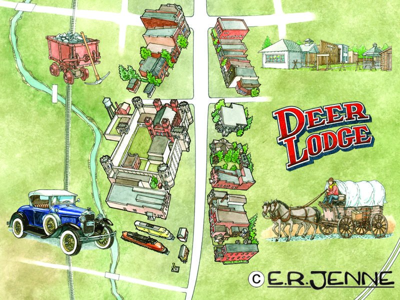The preliminary elements for a Deer Lodge tourist map.  The various components (structures, name plate, spot drawings) are constructed as separate components and can be resized or relocated as necessary.
