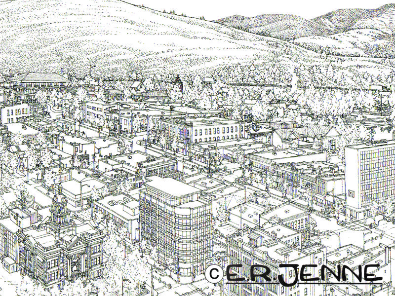 "This ""birds eye"" view of downtown Missoula is carefully designed to show the distinctive and varied architecture of the town."