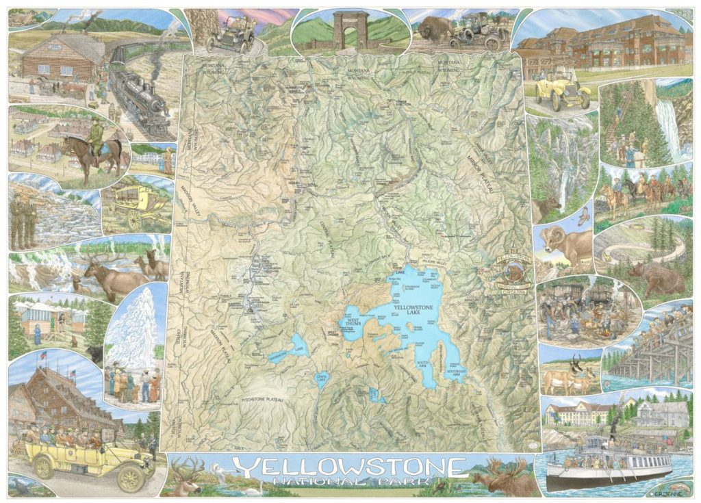 'Yellowstone National Park of a century Ago' illustrated map print